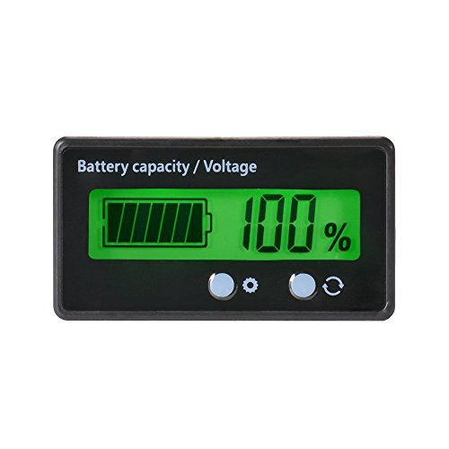 LCD-Batterie-Kapazitäts-Monitor-Messgerät-Meter, wasserdichte 12V / 24V / 36V / 48V Blei-Säure-Batterie-Status-Anzeige, Lithium-Batterie-Kapazitäts-Tester-Spannungs-Meter-Monitor-grüne Hintergrundbeleuchtung für Fahrzeug-Batterie