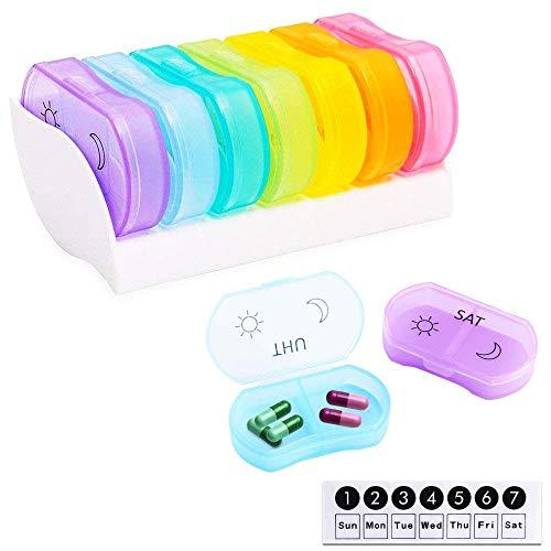 ETSAMOR Pillendose 7 Tage Regenbogen Farbe Pill Box Trocken Halten Tablettenbox für Reisen Pille Halter Erinnerung Einfach Lagern Medikation Organizer