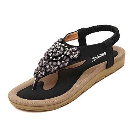 2018 Neue Bohemian Sandalen Damen, DoraMe Frauen Süße Perlen Clip Toe Flache Schuhe Fischgrät Sandalen Strand Schuhe Mode Elegante Einzelne Schuhe (40, Schwarz) (Sandalen Flache Perlen)