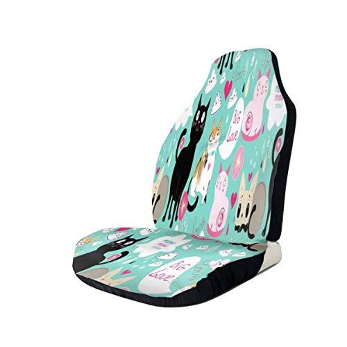 Coprisedili per auto Coprisedili vintage colorati simpatici e divertenti Secchiello per gatto Protezione universale per sedili anteriori flessibili Coprisedili anteriori facili da indossare e to