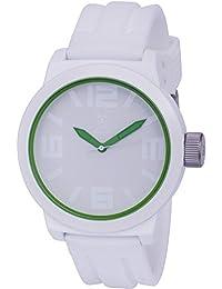 Konigswerk AQ202891G - Reloj de pulsera (manecillas verdes, anillo interior, correa de silicona blanca, dial y caja de cuarzo)