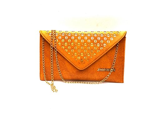 URBAN INTERIA Latest Beautiful Stylish Partywear Casual Daily Yellow Hand Clutch / Hand Bag with Golden polished shoulder chain for Ladies and Girls  available at amazon for Rs.398