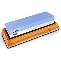 MUANI 6000/1000 Doppelseitiges Küchenschneider Spitzer Stein mit Anti-Rutsch-Gummiunter Bambus-Halter preisvergleich bei billige-tabletten.eu