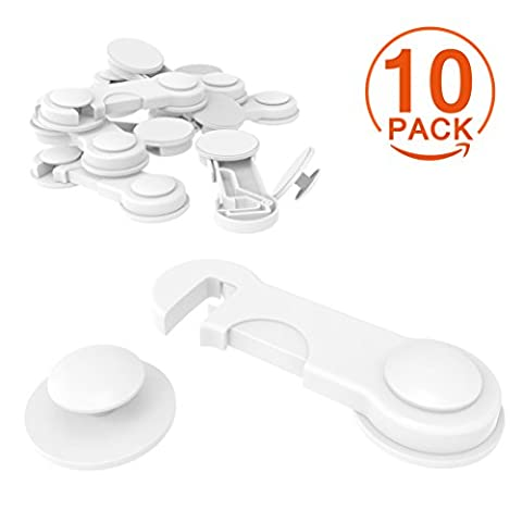 [10 Pack] Cupboard Child Locks, CANWN Child Drawer Safety Locks Strong Adhesive Baby Door Locks Safety Lock Latch for Drawer and Cabinet Door No Drilling or