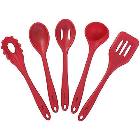 Set de 5 Utensilios de Cocina VonShef Resistentes al Calor en Silicona Roja con Cucharón, Espátula, Cuchara, Cuchara para Espaguetis y Cuchara