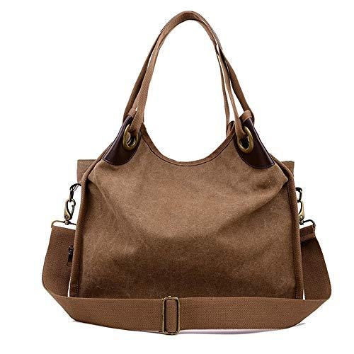 Dfgerten Frauen Messenger Bag Casual Bag Multifunktions-Canvas Umhängetasche Frauen-Vintage Hobo Shopping Casual Handtasche Frauen Casual Messenger Bag (Farbe : Coffee Color, Größe : Free Size)