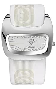 Marc Ecko Men's The Galactica Silver Textured Dial Watch E15090G2 with a White Leather Cuff Strap