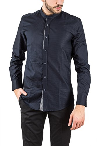 Antony morato camicia con collo alla coreana, uomo, fantasia con righe tono su tono, slim fit, abbottonatura a vista, mod. mmsl00438 fa440012 p/e18 (deep blue). 52