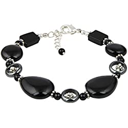 Pearlz Ocean Lavish Hematite And Black Onyx 7 Inches Gemstone Trendy Bracelet Jewelry for Women