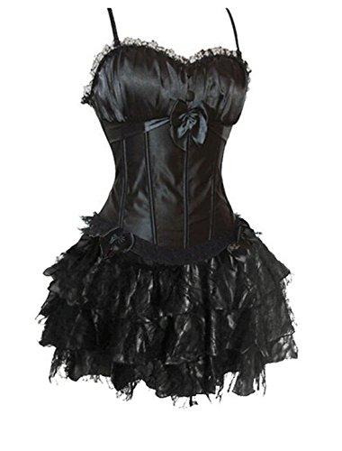 Sexy Damen Vollbrust Corsage mit Mini-Rock Party Dress Fancy Dress Clubwear (Small, (Fancy Dress Korsett)