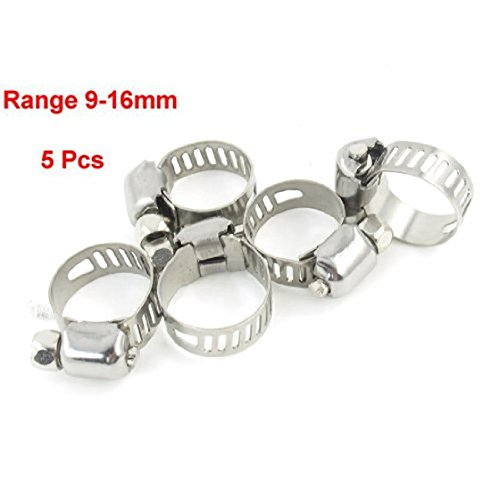 SODIAL(R) 5 x Abrazadera Clip para Tubo Manguera Metalico Plateado 9mm a 16mm