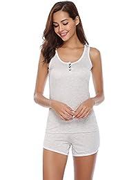 Aibrou Pijamas Mujer Verano Corto del 95% Algodón 2 Piezas,Más Suave Comodo Ligero