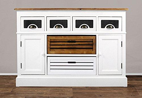 SAM® Sideboard I Paris 454 aus weiß lackiertem Paulowniaholz im Landhausstil, teilmassiv, 4 Schubboxen, 2 Schubladen, 2 Holztüren, viel Stauraum