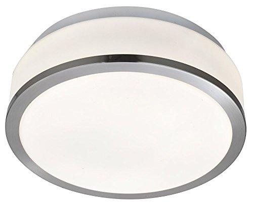 Satin Chrome & Opal Glass 2 x 60watt Stylish 23cm Bathroom Ceiling Light by Haysom Interiors Test