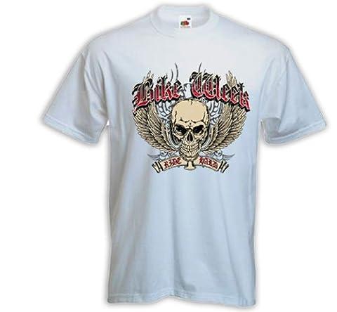 Biker T-Shirt Bike Week white Motorcycle Bike Racing USA Skull V8 Gr. XXXL