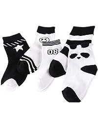 5 Par Calcetines de Canalé para Niños Algodón Invierno Calcetines Calientes con Print Panda de Adorable Cartel, para Niños Niñas 3-5