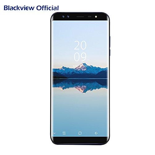 Blackview S8(2018),Smartphone 4g,(Ratio 18:9) 5.7 Pouces HD+ Écran Infinity 4 Caméras Sony (13MP+0.3MP et 13MP+0.3MP) Smartphone Débloqué, 4GO RAM+64GO ROM Android 7.0 Empreinte Digitale 3180mAh Smartphone Dual SIM- OTG-GPS-Bleu
