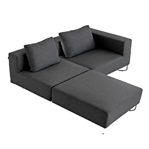 softline lotus sofa zweisitzer 1 armlehne anthrazit inkl 2 kissen stoff filz 610 196x196cm. Black Bedroom Furniture Sets. Home Design Ideas
