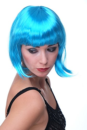 Wig me up PW0114-PC40 Sexy Party Perücke Bob Disco Kurz & Frech Go-Go Party Burlesque Blau