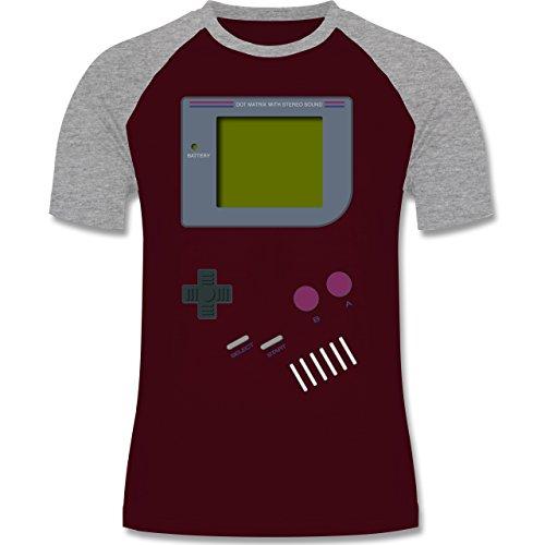 Shirtracer Nerds & Geeks - Gameboy - Herren Baseball Shirt Burgundrot/Grau meliert