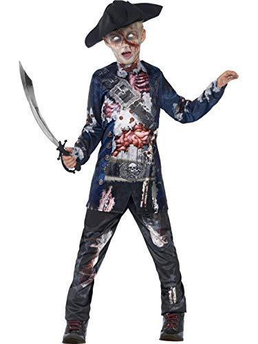 Pirat Kostüm Deluxe Jungen - Halloweenia - Jungen Kinder Horror Zombie Piraten Kostüm Deluxe, 3D Oberteil Hose und Hut, perfekt für Halloween Karneval und Fasching, 122-134, Blau
