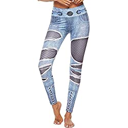 DEELIN Femmes Workout Shredded Élasticité Jeans Imprimé Leggings Conception Rivet Creux Maille Patchwork Fitness Sport Gym Yoga Pantalon