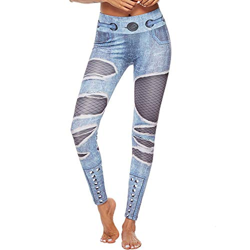 Leggings Sport Yoga Fitness Hosen Jogginghose Damen Drucken Leggins Strumpfhose Workout zerrissene Jeans Print Leggings Mädchen Fitness Sport Gym Yoga athletische Hose (Blau, XL)
