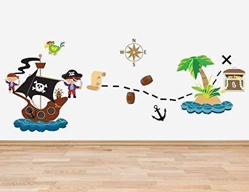 Set mit 13 Piraten Thema Wand Sticker Aufkleber Jungen Schlafzimmer Aufkleber Schatz Kasten Piratenschiff wüste Insel