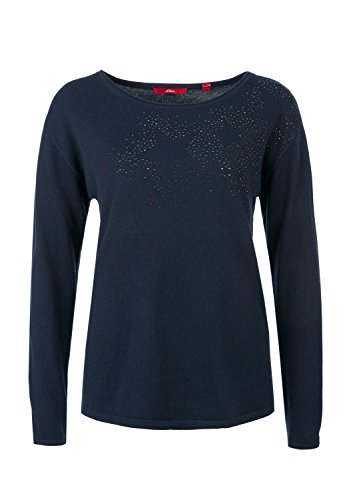 s.Oliver Damen Pullover Blau (Navy Placed Print 59E1)
