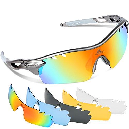 HODGSON Fahrradbrille Sport Sonnenbrille für Herren und Damen Polarisierte, Sportbrille mit 5 Wechselobjektiven und Radsports, Baseball, Laufen, Tr90