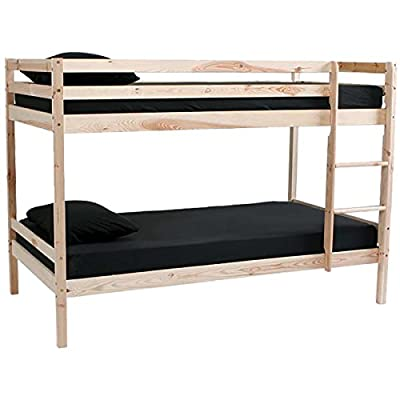 Marko Furniture Solid Pine Wooden Bed Frames Single Double King Bunk Triple Sleigh White Natural Wood 3FT/4FT 6/5FT (Natural Pine Single Bunk Bed Frame)