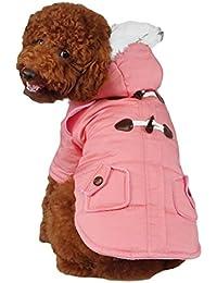 SODIAL Abrigo con Capucha Mini Chaqueta de Perro Linda Traje de Algodon Teddy Informal Calido Invierno Rosado M