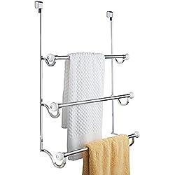 mDesign Porte-Serviette à Monter sans percer - sèche-Serviettes à accrocher Simplement sur Une Porte - à Utiliser comme Porte-Serviettes ou Portant pour vêtement - Blanc/chromé