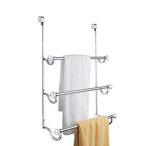 Preisvergleich Produktbild mDesign Handtuchhalter ohne Bohren montierbar - Handtuchhalter Tür-Befestigung einfach einzuhängen - als Duschhandtuchhalter,  Badetuchhalter & für Kleidung - verchromt