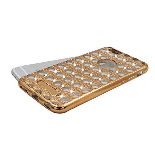 iPhone 6S Plus Hülle Transparent Gitter Schutz Case,iPhone 6 Plus Weiches Silikon Klar Dünn Gummi Durchsichtig Mit Strass Diamant Glitzer Bling Tasche Schutzhülle,Herzzer Flexibel Luxuriös [Silber Ele Gold