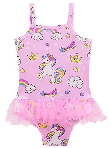 Monissy Verano Niña Infantil Unicornio Trajes de Baño Impresión Tul Secado Rapido Falda-Pantalón Bañador de una Pieza Cumpleaños Natación Vacaciones 3-10años 100-140 Rosa Azul Ropa de Playa