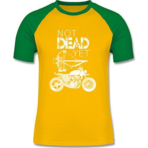 Statement Shirts - Not Dead Yet - Motorrad Armbrust - zweifarbiges Baseballshirt für Männer Gelb/Grün