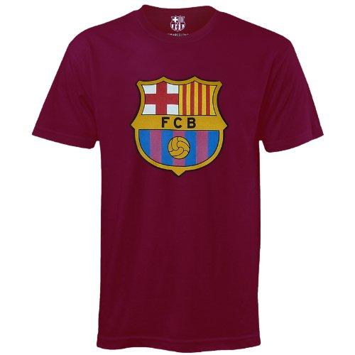 Spanien-fußball-t-shirt (FC Barcelona Kinder T-Shirt mit originalem Fußball-Wappen - Geschenkartikel - Rot - 8-9 Jahre)