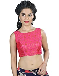 ec1aec12ccddea Salwar Studio Women s Pink color Brocade Readymade Saree Blouse -SSB1680-PINK-32-