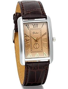 JewelryWe Herren Damen Armbanduhr,Retro Leder Analog Quarz Uhr mit römischen ziffern Zifferblatt, Lieben partneruhren...