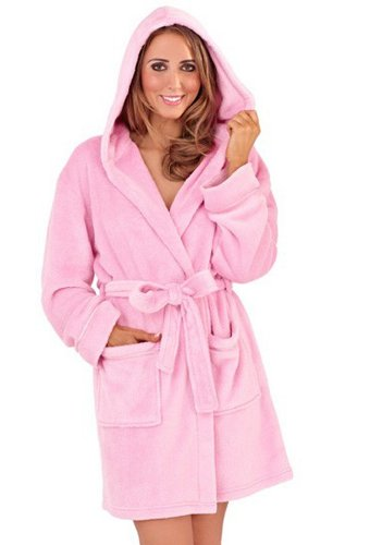 Loungeable Boutique Womens Super Soft Coral Fleece mit Kapuze kurzen Mantel mit Bindegürtel und Taschen leicht rosa 20 bis 22 (Robe Gemütliche Fleece)