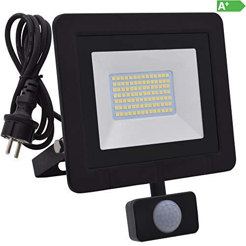 Led-flut-licht-lampe (Lumare 50W LED Strahler mit Bewegungsmelder und Anschlußstecker 5000lm außen und innen IP65 ersetzt ca. 500W Mini Flutlicht Lampe 3000K warmweiß 230V)