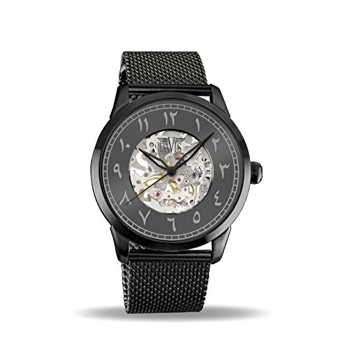 Davis - Herren Damen Skeleton Uhr Östlichen arabischen Zahlen Mechanisch Skelett mit sichtbarem Uhrwerk Mesh armband (Schwarz)