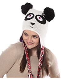 Ladies/Girls Novelty Animal Knitted Peruvian Peru Thermal Ski Hats panda