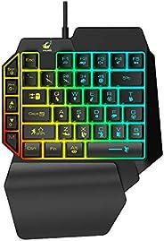 SKY TOUCH USB Wired Mini Gamer Keyboard 1.5M Cord 35 Keys LED Backlight Gamer Keypad One-handed Gaming Keyboar