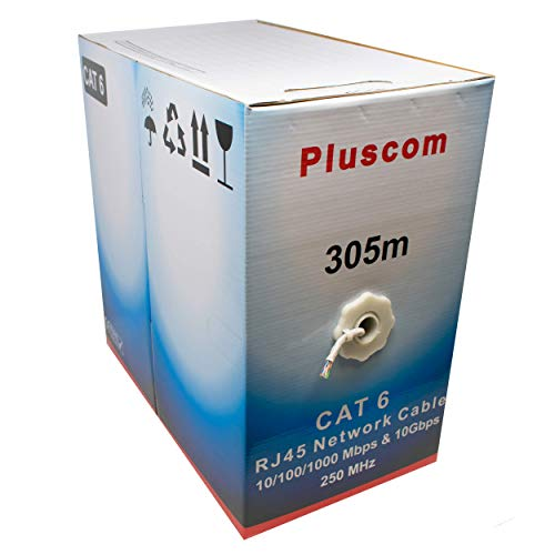 I-CHOOSE LIMITED 305m Metre Cat6 AWG23 Ethernet LAN UTP Rollen Sie Bulk CCA Kabel / 1000ft Vernetzung/Grau -
