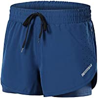 BERGRISAR BG115 - Pantalones cortos de entrenamiento para yoga (3 pulgadas, 2 en 1) con bolsillo lateral con cremallera