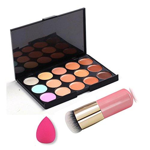 MuSheng(TM) 15 couleurs visage anticernes camouflage crème contour palette + brosse ensemble + eau éponge bouffée