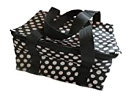 Black & White spotted polka dots recycled eco friendly, waterproof & insulated (hot & cold) ladies, girls, kids, lunch bag, handbag