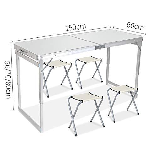 Table de Pique-Nique Table Pliante Camping en Plein air sur tréteaux pour banquets de Camping en Plein air - 150cm x 60cm (L & W) (Couleur : A)